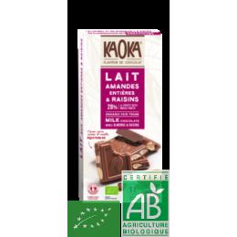 Tablette chocolat lait amandes raisins 180g kaoka