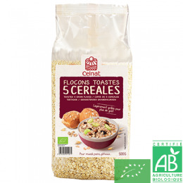 Flocons 5 cereales toastes 500g celnat