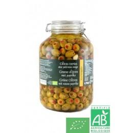 Olives vertes aux poivrons rouges epikouros 150g