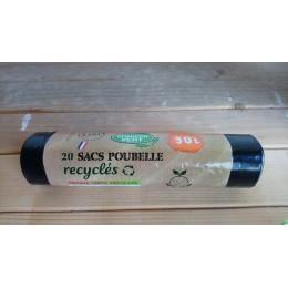 20 sacs poubelle recycles 30 l chardon vert