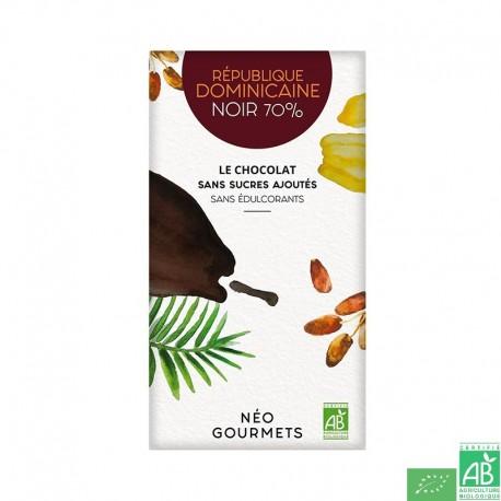 Chocolat noir 70 sans sucres republique dominicaine neogourmets