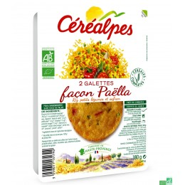 Galettes façon paëlla riz petits légumes céréalpe