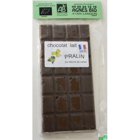 Chocolat lait praline agnes bio