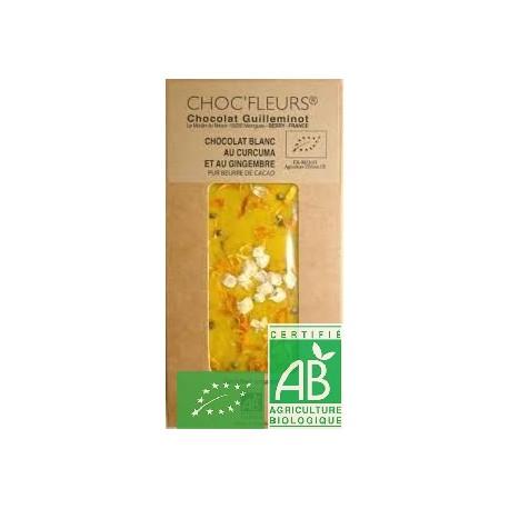 Chocolat blanc curcuma gingembre choc fleurs