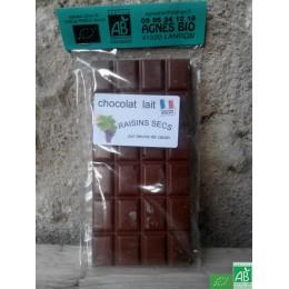 Chocolat lait raisins secs agnes bio